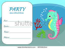 many stock birthday party invitation card vector creation colorful seahorse kids party invitation card stock vector