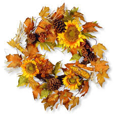 national tree company 24 in maple leaf and sunflower wreath rahv