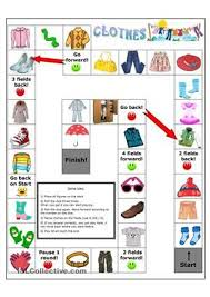clothes board game to practice clothes vocabulary also with
