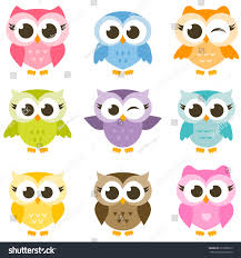 set cute colorful owls isolated on stock vector 610789919