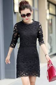 black lace dress jhonpeter women neck collar sleeves lace shift dress
