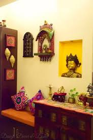 indian traditional home decor a section of the dining room has been dedicated as the pooja