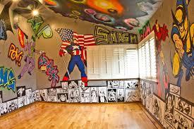 graffiti boys bedroom superhero room graffiti walls with marvel and dc characters and
