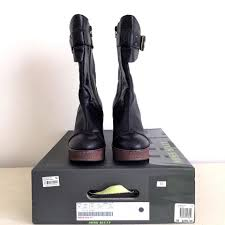 miss sixty black kylie leather boots wedges size us 8 regular m