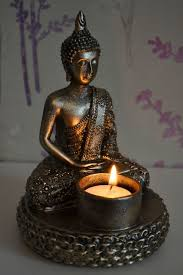 Buddha Room Decor Decorative Antique Bronze Meditating Thai Buddha Tealight Candle