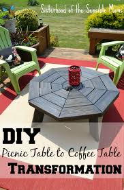 diy picnic table to coffee table transformation sisterhood of