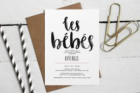 whimsical les bebes twin baby shower invitation