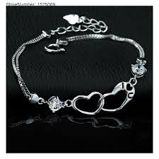 love heart silver bracelet images Cheap wholesale double heart silver bracelets love bracelets for jpg