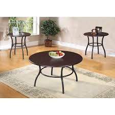 urika 3 piece coffee and end table set dark cherry u0026 espresso