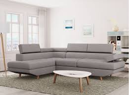 canapé d angle gris canapé d angle style scandinave pieds bois avec revêtement tissu