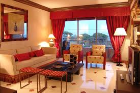 funiture living room decor ideas in red and beige theme with