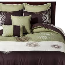 medallion embroidered 8 piece bedding set green brown bed sets