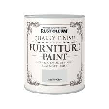 rust oleum winter grey chalky furniture paint 750ml at
