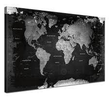carte monde noir et blanc lanakk carte du monde style rétro sur toile avec tableau en liège