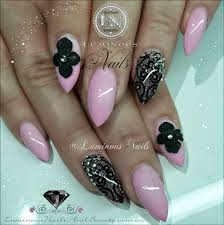 luminous nails baby pink u0026 black nails with lace u0026 3d flowers