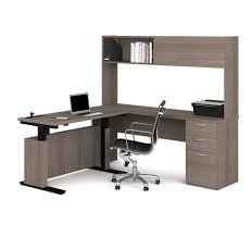 l shape desk adjustable l shaped desk with lateral file and bookcase