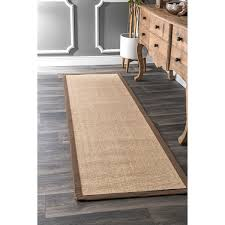 Natural Fiber Rug Runners Nuloom Natural Fiber Cotton Border Sisal Herringbone Runner Rug 2