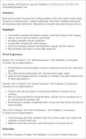 Insurance Sample Resume by Professional Insurance Customer Service Representative Templates