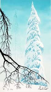 eyvind earle christmas cards limited edition prints eyvind earle snow laden trees and