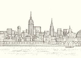 drawn city new york skyline pencil and in color drawn city new