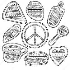 coloring page stickers and embroidery patches collection