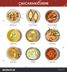set cuisine caucasian cuisine set traditional dishes barbecue เวกเตอร สต อก