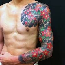 Chest And Half Sleeve - 50 japanese flower designs for floral ink ideas