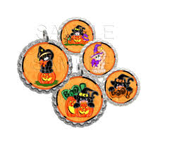 halloween cat bottle caps 1 inch round circles cupcake toppers