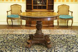 antique reproduction mahogany and walnut inlaid center table