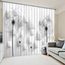 Black And White Blackout Curtains Photo 3d Curtain 3d Stereoscopic Dandelion Square Curtains Black
