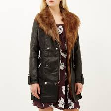 river island black leather look faux fur trench coat in black lyst