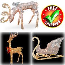 outdoor holiday lighted deer sleigh christmas decoration decor