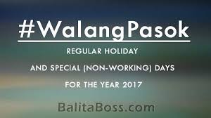 2017 philippine holidays regular and special non working days