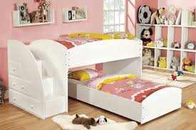 bedroom girls low loft bunk beds made of solid wood in white