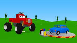 kids monster truck video alex the monster truck coloring the blue car video for kids