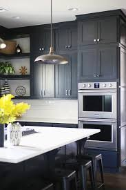black shaker style kitchen cabinets black shaker cabinets with nickel pulls transitional kitchen