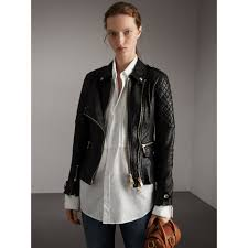 biker coat diamond quilted detail lambskin biker jacket in black women