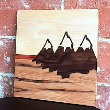 wood inlay wall mountain scape buymakers
