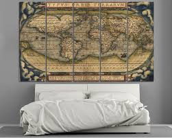 Old World Map Large Vintage World Map 3 Panel Wall Art At Texelprintart Com