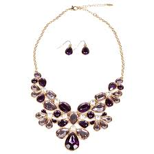 purple gold necklace images Bib necklace and earrings sets jpg