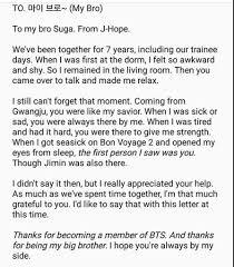 hobi u0027s letter to yoongi j hope amino