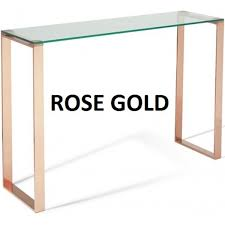 rose gold console table kayla glass console table in three colours norman s furniture