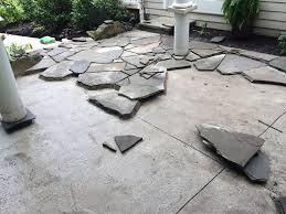 How To Lay Flagstone Patio Before U0026 After Photo Galleries Landscaping Lawn Mowing