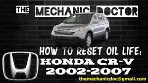 how to reset oil light honda cr v 2002 2003 2004 2005 2006