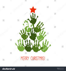 handprint christmas tree red handdrawn star stock vector 336815849