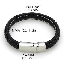 stainless steel bracelet clasp images Genuine leather braided bracelet with stainless steel magnetic jpg