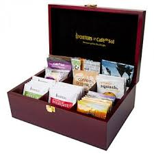 Box Coffee wooden tea and coffee beverage display boxes