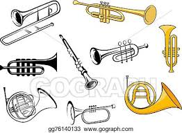 vector illustration wind instruments in sketch and cartoon style
