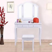 Mirrored Vanity With Drawers Goplus White Tri Folding Mirror Vanity Makeup Table Stool Set Home