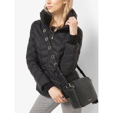 michael kors packable quilted nylon jacket in black lyst